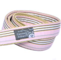 DOG LEAD - CLASSIC STRIPES PINK BROWN WHITE (RIBBON 25mm)